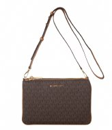 Michael Kors Large double Pouch Crossbody brown & gold colored hardware